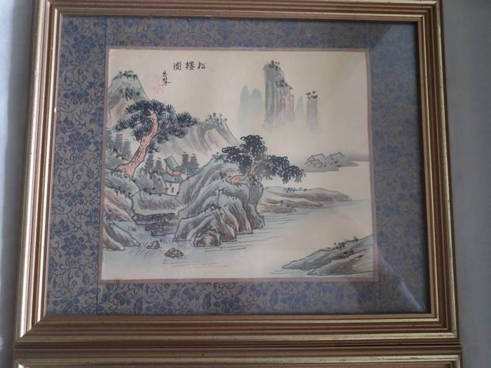 Three rice paper drawing in profesonally reframed frames - China - second half 20th century