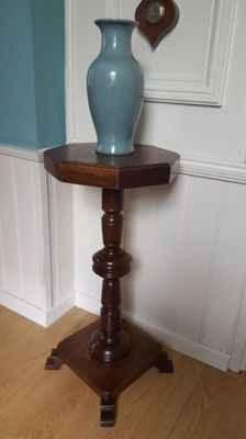 Wood pedestal side table solid birch construction in dark brown /plant stand square