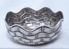 Candy Sweets Serving Bowl - 925 Sterling Silver - Basket Weave - Biros - Austria - ca. 1930's