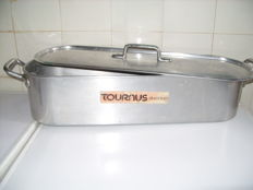 A large professional French fish kettle with drip tray