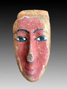 Ancient Egyptian wooden mummy mask - 10 Inches