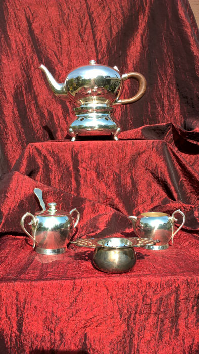 Silver plated 11 piece tea set, probably 2nd half of the 20th century from France