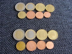 Belgium - Year packs 1 cent through 2 Euro 2000 and 2001 (16 coins)