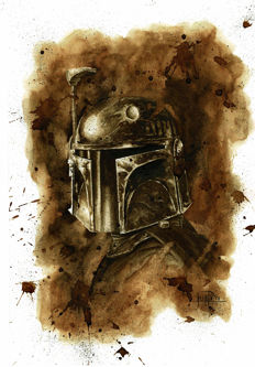 Boba Fett - Original Coffee Drawing By Juapi