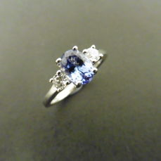Platinum Tanzanite and Diamond 0,20 ct Ring - size 53 free resize