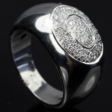 18 kt white gold ring with brilliant 0.60 ct - size: 18.5 mm