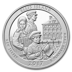 United States - US Mint - America the Beautiful - Ellis Island New Jersey - 5 oz 999 silver coin