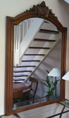 Large fireplace mirror made of solid walnut - 150 cm - France - Circa 1900