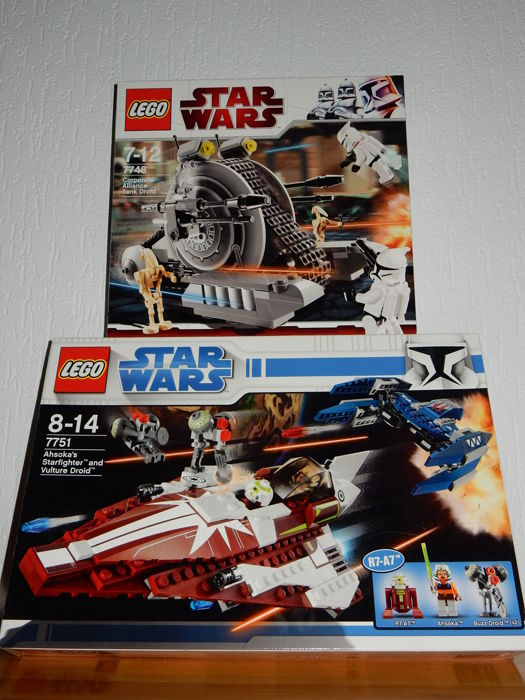 Star Wars - 7748 + 7751 - Corporate Alliance Tank Droid + Ahsoka's Starfighter and Droids