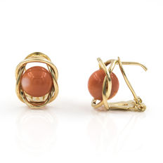 18 kt yellow gold - Earrings - Natural Pacific coral of 8 mm in diameter