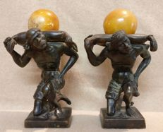 Pair of bronze bookends, lost wax casting - Mori Veneziani - Italy, Venice - early 1900s