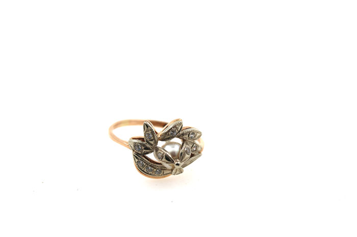 Ring with zirconia pearl 585 14 kt red gold - 53 (EU)