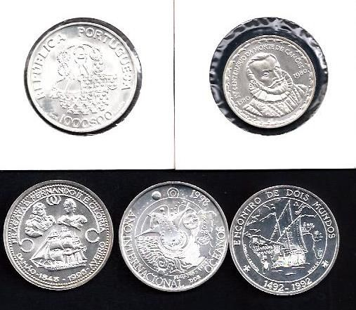 Portugal  Commemorative 1.000$00 silver 1980,1992,1996,1998 e 1998   5 coins