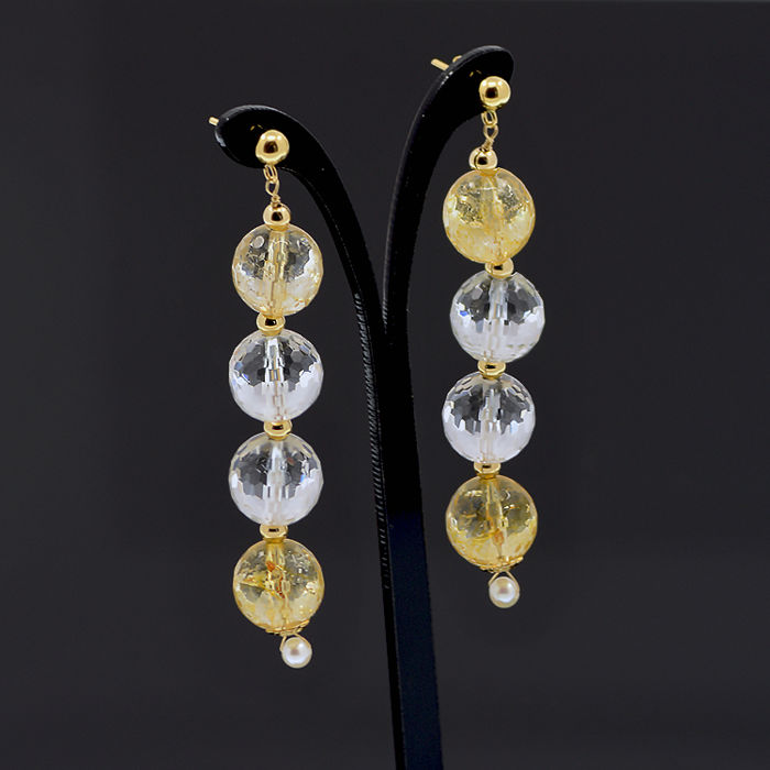 18k/750 yellow gold earrings with assorted gemstones and cultured pearls  -  Length, 63 mm.