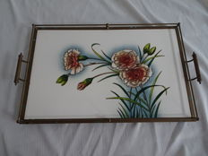 Large beautiful porcelain tray with copper plated pewter frames and handles