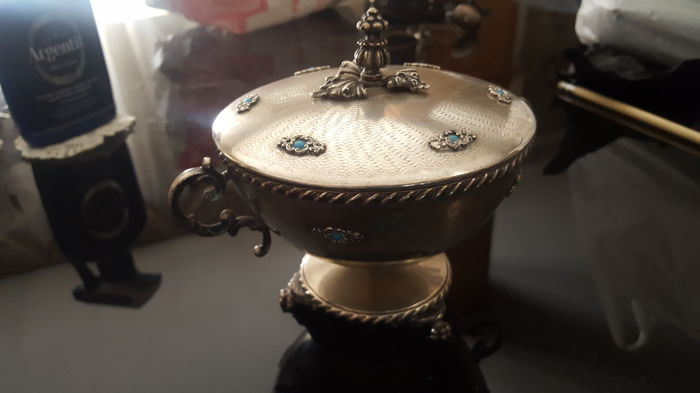 800 Silver Tureen with Turquoise Colour Cabochons Italy, 20th century