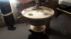 Elegant 800 silver tureen of Italian manufacture with turquoise cabochons