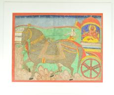 Miniature painting of Surya on his chariot - India - ca. 1900