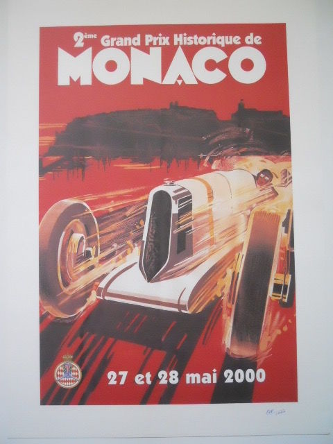 Poster for the 2nd grand prix Monaco historic the illustrator Robert falcucci 27-28 May 2000