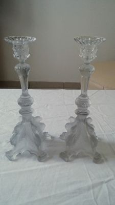 2 beautiful glass candle holders.