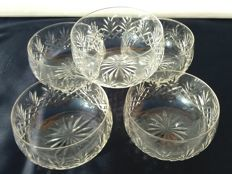 Lot consisting of 5 items for fruit salad/ice cream - made of very light cut crystal - Saint Louis - 1916