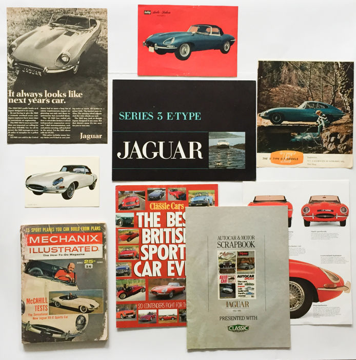 Verzameling Jaguar E-type folders / documentatie