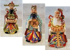 Collection of hand-painted porcelain Chinese philosopher statues 3 x