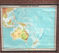 Very large school map of Australia and Oceania