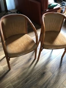 Pair of Baumann armchairs in curved beech, 70s, France