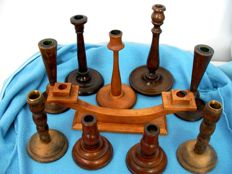 Lot of 10 candelabra made of wood and metal. Typical of European Churches of the first half of the 20th century.