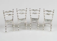 4 silver miniature chairs, 20th century