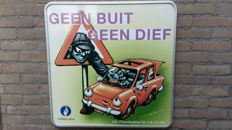 "Vintage prevention sign of Police of Leuven - ""Geen buit geen dief"""