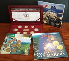 Ireland, Malta and San Marino - Year collection 2002/2008 (4 different pieces)