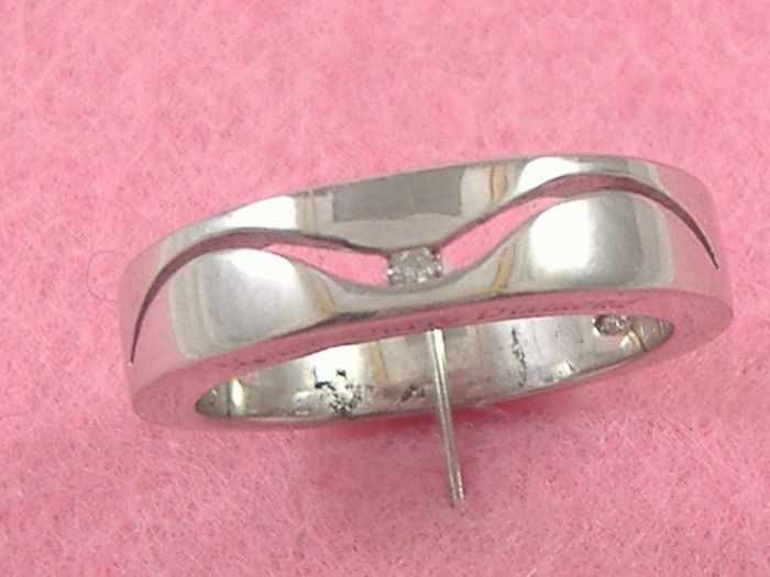 Silver ring (925), with 0.04 ct diamonds, unisex style, size 18 mm