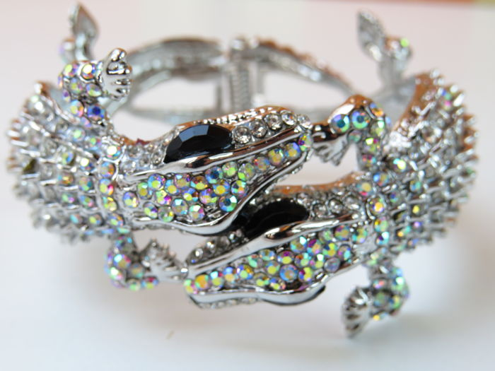 Kenneth Jay Lane - Double Alligator Aurora Borealis Clamper Bracelet