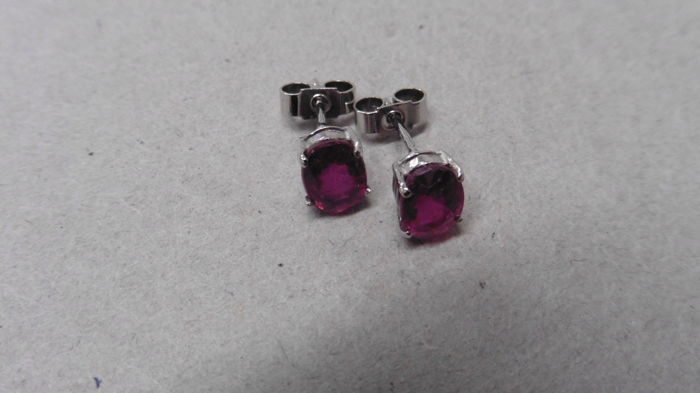 9ct White Gold Ruby Earrings  - 2.00ct