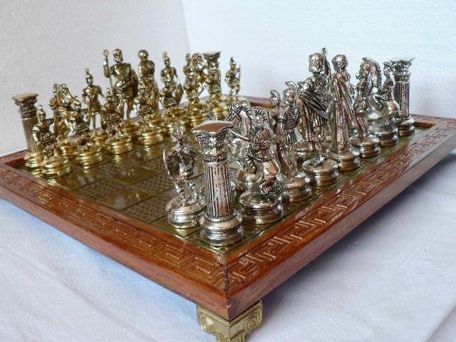 Greek metal chess Metal and wooden board