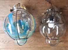 Two Caged Glass Pendant Lights