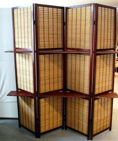 Four-piece Chinese folding screen with woven panels - China - 2nd half of the 20th century