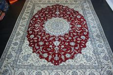 Hand-knotted original Persian carpet, oriental Nain, approx. 294 x 245 cm. In great condition, Iran, cork with silk content