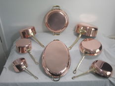8 French copper pans / oven dishes