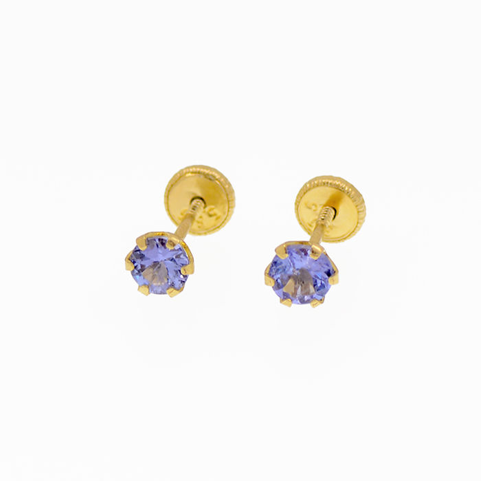 14k/575 yellow gold earrings with tanzanites - Gemstones weight, 0.72 ct.