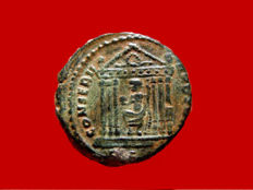 Roman Empire - Maxentius (306-312) bronze large follis (8,36 g. 23 mm.), from Rome mint, AD 307-308. CONSERV VRB SVAE, Roma seated in temple. RS