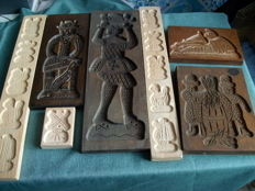 Lot of 7 speculaas boards large and small, different types of wood