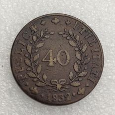 Portugal, Monarchy -- 40 Reis (Potaco), 1832, D. Miguel I -- bronze