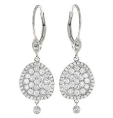 Meira T Pave Drop Diamond Earrings - 18ct White Gold, 0.32ctw Brilliant Diamonds - 35mm long