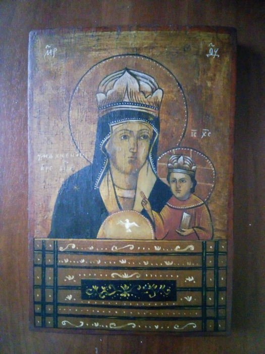 19 th century ortodox russian icon of virgin Mary  hand painted