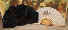 Tortoiseshell hand fan with ostrich feathers, c. 1880-90 + hand-painted linen hand fan, early 20th century - Italy