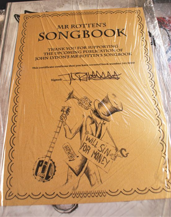 JOHN LYDON: To celebrate 40 years of songwriting across both the Sex Pistols and Public Image Ltd (PiL) eras Rare Signed and Numbered Edition Songbook