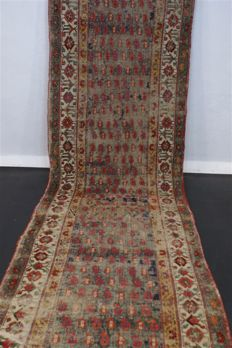 Handwoven original antique Kazak carpet oriental approx. 390 x 104cm. Russian antiqu original condition rare pattern